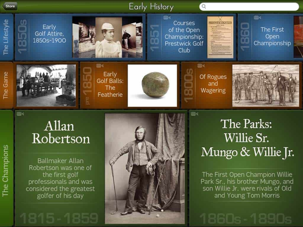 Golf History App: Timeline View