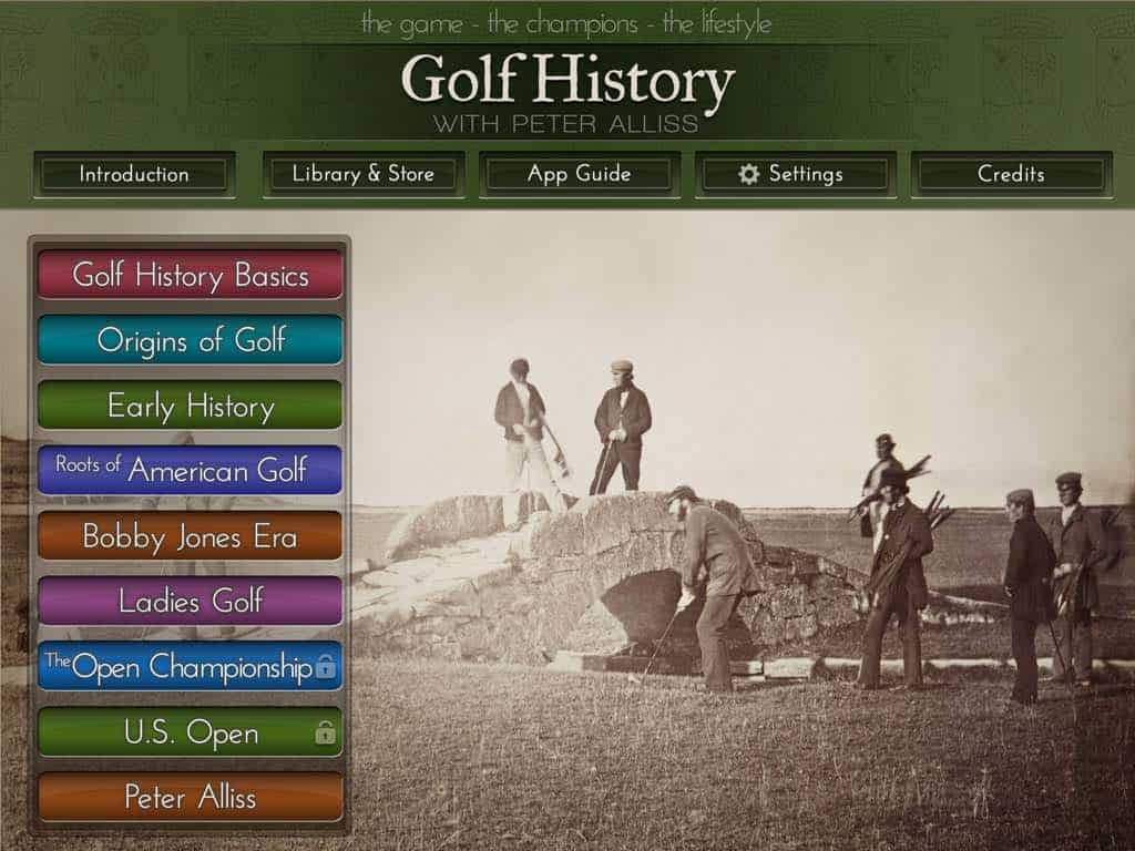 Golf History App: Library and Store Shelf View