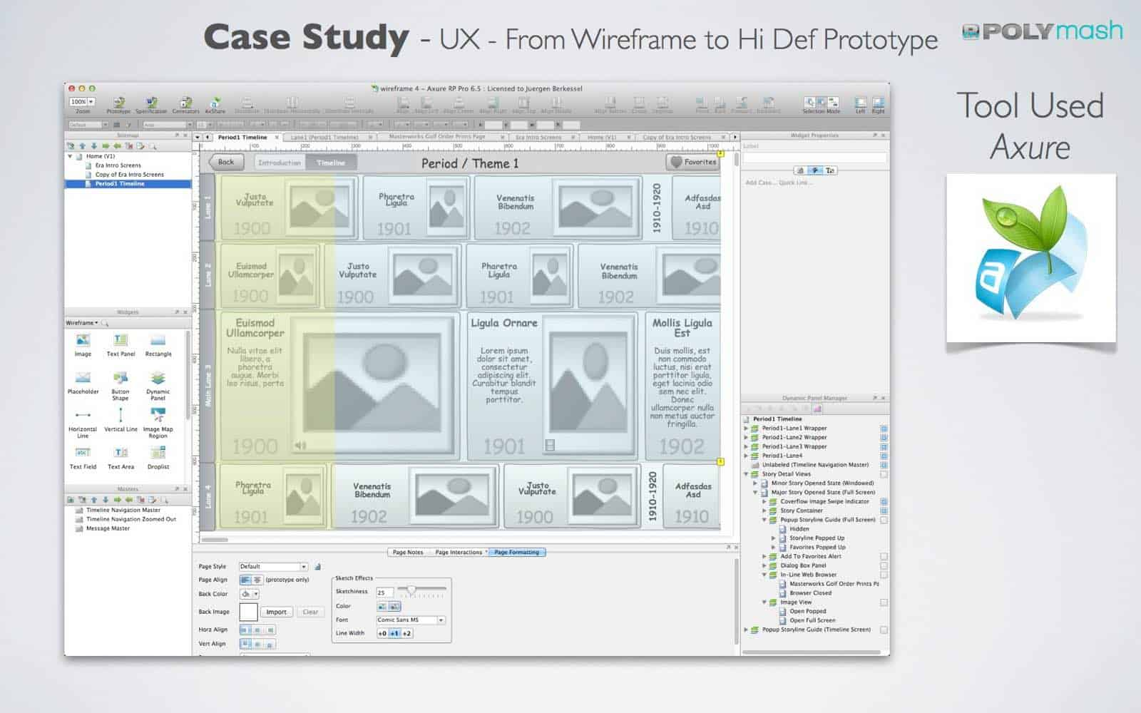 UX Case Study: This is a screen shot of the wireframe in Axure. We were able to create a Hi-Fi prototype that allowed our client to showcase the concept with investors, without going through the expense of actual app development cycles.