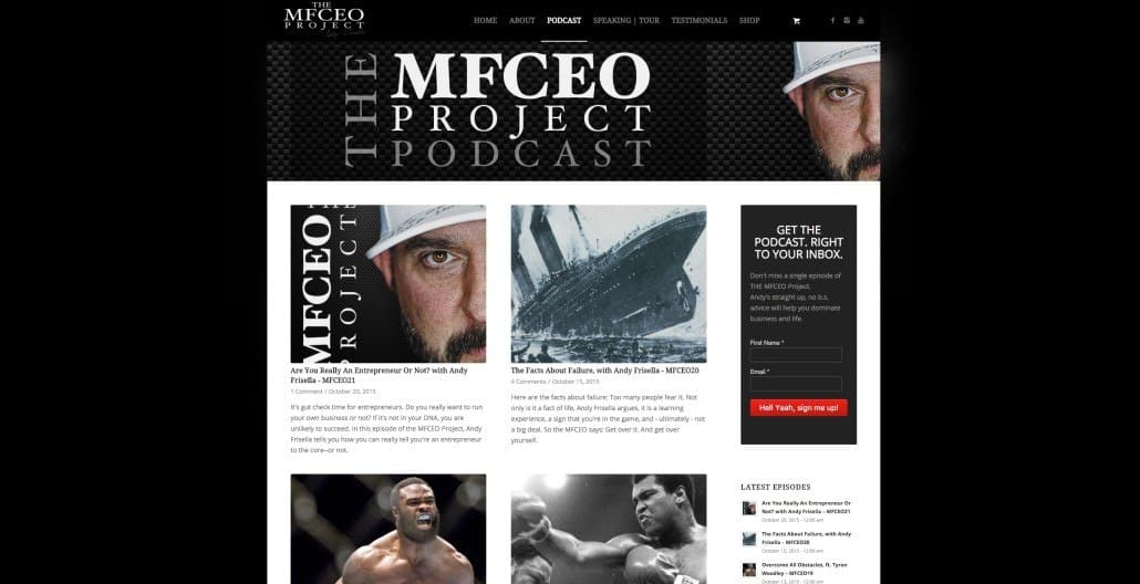 The MFCEO Podcast Home Page Design