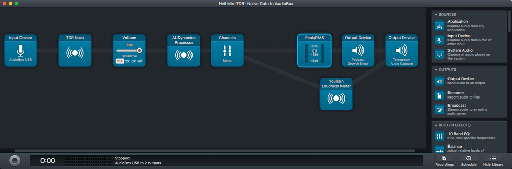 Our Audio Hijack setup to produce real time optimized audio