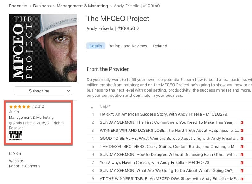 The MFCEO Project Podcast has lots of reviews