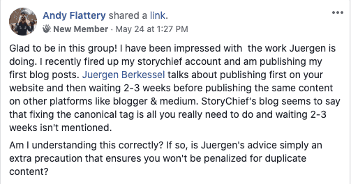 Duplicate content and content syndication drip schedule question from Andrew Flattery, @approx 1:18:00